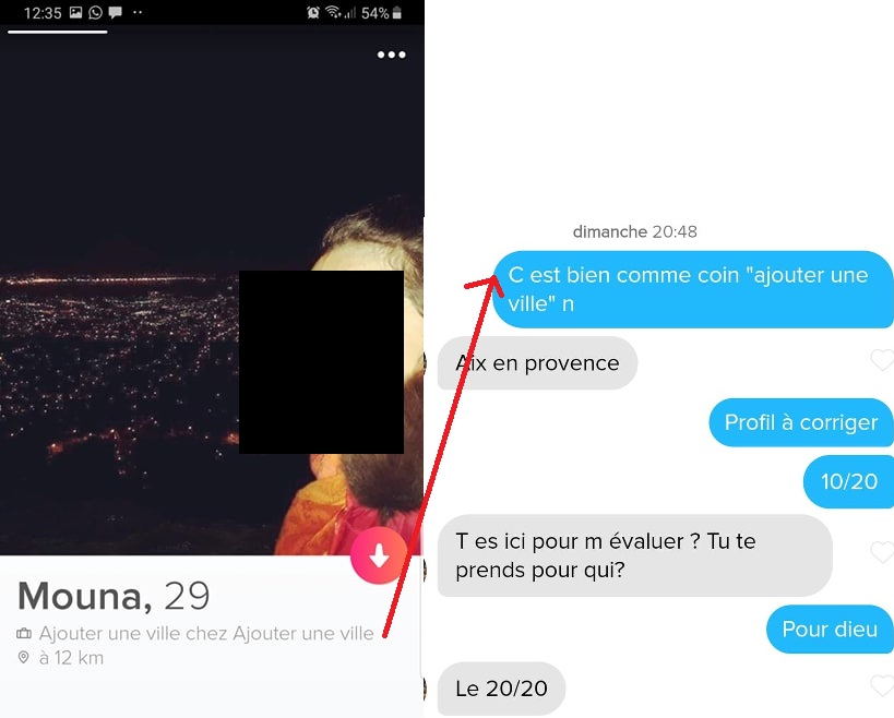 1er message tinder drole